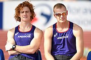 Shaun Barber (CAN), left, and Sam Kendricks (USA) react during the pole vault at the IAAF Continental Cup 2018 at Mestky Stadion in Ostrava, Czech Republic, Sunday, Sept. 9, 2018. (Jiro Mochizuki/Image of Sport)