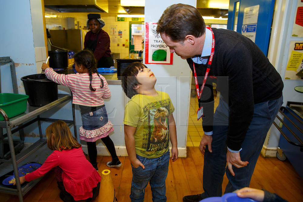 © Licensed to London News Pictures. 03/11/2014. LONDON, UK. The Deputy Prime Minister Nick Clegg meets school children over lunch at Weston Park Primary School in Crouch End, London on Monday 3 November 2014. Photo credit : Tolga Akmen/LNP
