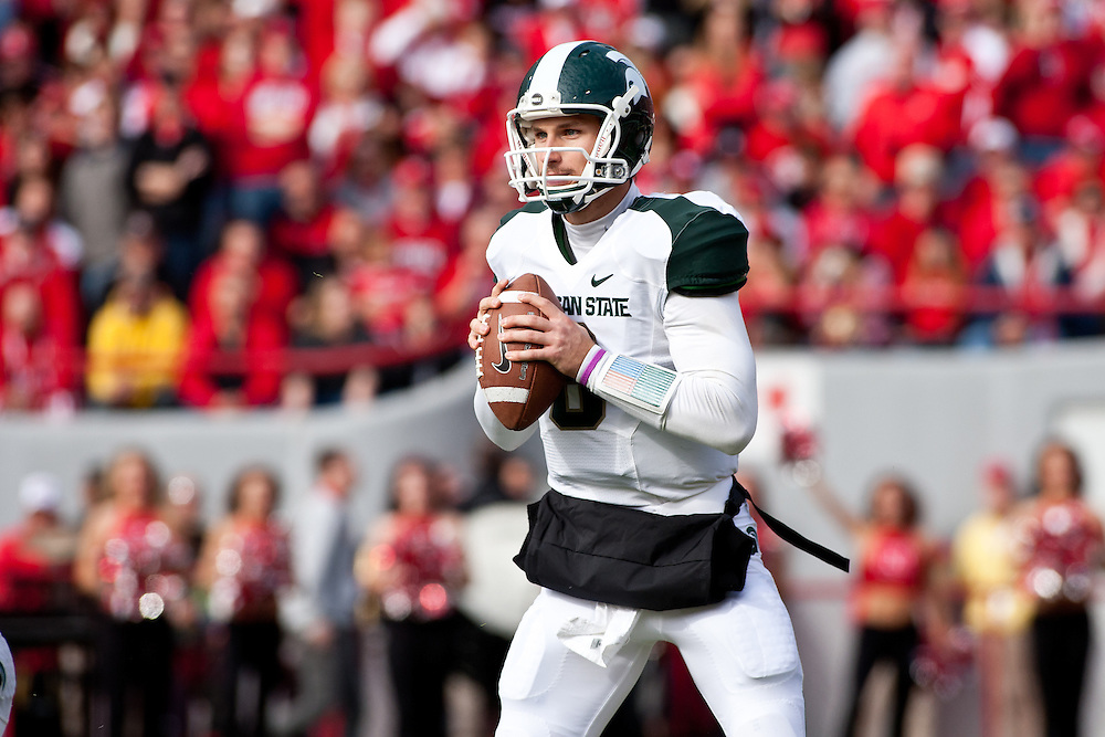 29 October 2011: Kirk Cousins #8 of the Michigan State Spartans drops back to pass against the Nebraska Cornhuskers in the first quarter at Memorial Stadium in Lincoln, Nebraska.  Nebraska defeated Michigan State 24 to 3.
