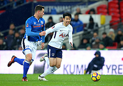 Son Heung-Min of Tottenham Hotspur goes past Harrison McGahey of Rochdale - Mandatory by-line: Robbie Stephenson/JMP - 28/02/2018 - FOOTBALL - Wembley Stadium - London, England - Tottenham Hotspur v Rochdale - Emirates FA Cup fifth round proper