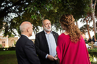 ROME, ITALY - 3 JUNE 2015: (Center) President of Slow Food Carlo Petrini chats with President of the American Academy Mark Robbins and Gala chair Ginevra Elkann at the McKim Medal Gala honouring Carlo Petrini and Paolo Sorrentino at the American Academy  in Rome, Italy, on June 3rd 2015.