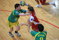 Bojan Dolinar vs Ales Smejc at handball game RD Slovan vs RD Merkur  in 7th round of MIK First league, on October 24, 2008 in Ljubljana, Slovenia. (Photo by Vid Ponikvar / Sportal Images)