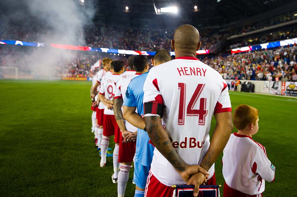 HARRISON, NJ - AUGUST 17:  Members of the New York Red Bulls stand for the National Anthem before the game against the Philadelphia Union at Red Bulls Arena on August 17, 2013. (Photo By: Rob Tringali)