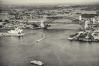 Sydney Harbour featuring Harbour Bridge, Opera House & Fort Denison (monochrome)