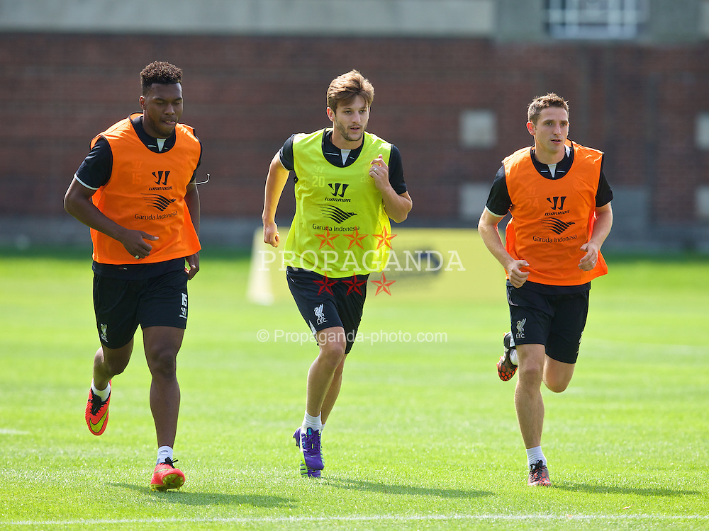 HARVARD, USA - Monday, July 21, 2014: Liverpool's Daniel Sturridge, Adam Lallana and Joe Allen during a preseason training session at the Harvard Stadium in Boston on day one of their USA Tour. (Pic by David Rawcliffe/Propaganda)
