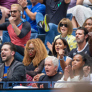 2019 US Open Tennis Tournament- Day Thirteen.    Meghan Markle, Duchess of Sussex reacts while watching Serena Williams of the United States in action against Bianca Andreescu of Canada in her team box which includes husband Alexis Ohanian, mother Oracene Price, coach Patrick Mouratoglou, publicist Jill Smoller, sisters Isha Price and Venus Williams and Anna Wintour, editor of Vogue during the Women's Singles Final on Arthur Ashe Stadium during the 2019 US Open Tennis Tournament at the USTA Billie Jean King National Tennis Center on September 7th, 2019 in Flushing, Queens, New York City.  (Photo by Tim Clayton/Corbis via Getty Images)
