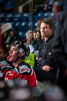 KELOWNA, CANADA - OCTOBER 31: Scott Hoyer, athletic therapist of the Kelowna Rockets stands on the bench against the Lethbridge Hurricanes on October 31, 2015 at Prospera Place in Kelowna, British Columbia, Canada.  (Photo by Marissa Baecker/Shoot the Breeze)  *** Local Caption *** Scott Hoyer;