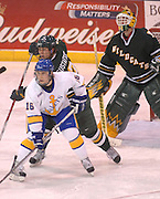 LSSU's Chad Nehring (16) and NMU's Erik Gustafsson (behind Nehring) battle for position in front of Wildcats goaltender Brian Stewrat (right) Saturday at Taffy Abel Arena in Sault Ste. Marie.
