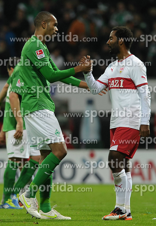 27.11.2011, Weserstadion, Bremen, GER, 1.FBL, Werder Bremen vs VfB Stuttgart, im Bild Naldo (Bremen #4, links), Cacau (Stuttgart #18, rechts) // during the match Werder Bremen vs VfB Stuttgart on 2011/11/27, Weserstadion, Bremen, Germany. EXPA Pictures © 2011, PhotoCredit: EXPA/ nph/ Frisch..***** ATTENTION - OUT OF GER, CRO *****