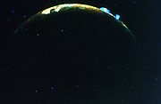 Volcanic eruption on Jupiter's moon, lo. Upper; Plume 5: Lower; Plume 6. Voyager II. NASA photograph.