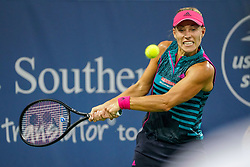 August 15, 2018 - Cincinnati, OH, U.S. - CINCINNATI, OH - AUGUST 15: Angelique Kerber (GER) hits a two-handed backhand shot during the Western & Southern Open at the Lindner Family Tennis Center in Mason, Ohio on August 15, 2018. (Photo by Adam Lacy/Icon Sportswire) (Credit Image: © Adam Lacy/Icon SMI via ZUMA Press)