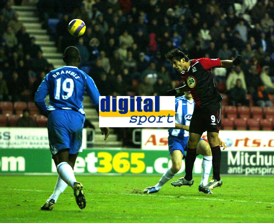 Photo: Paul Greenwood/Sportsbeat Images.<br />Wigan Athletic v Blackburn Rovers. The FA Barclays Premiership. 15/12/2007.<br />Blackburn's Roque Santa Cruz heads home his third goal