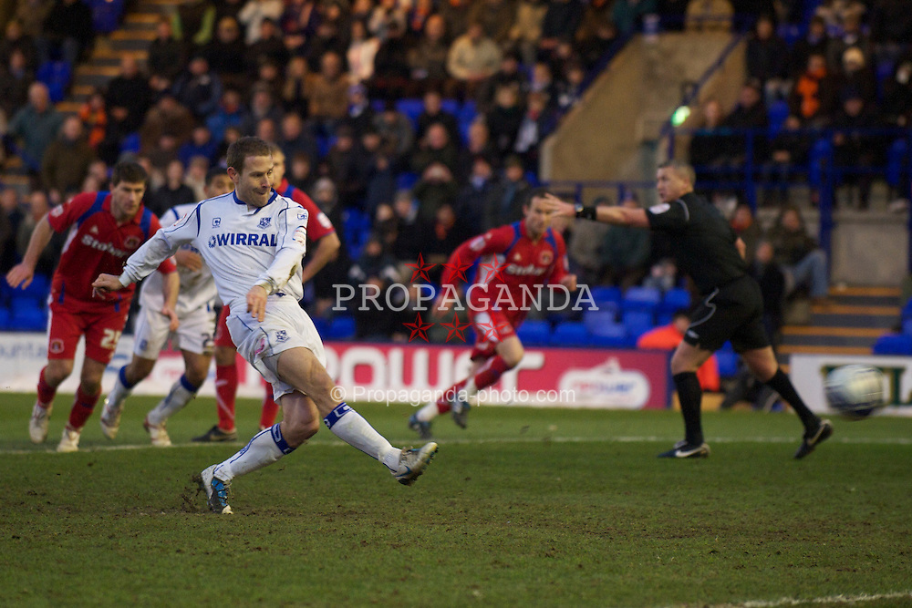 BIRKENHEAD, ENGLAND - Monday, January 3, 2011: Tranmere Rovers' Ian Thomas Moore sees his penalty kick saved against Carlisle United during the Football League One match at Prenton Park. (Pic by: David Rawcliffe/Propaganda)