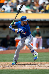 OAKLAND, CA - JULY 23:  Russell Martin #55 of the Toronto Blue Jays at bat against the Oakland Athletics during the second inning at O.co Coliseum on July 23, 2015 in Oakland, California. The Toronto Blue Jays defeated the Oakland Athletics 5-2. (Photo by Jason O. Watson/Getty Images) *** Local Caption *** Russell Martin