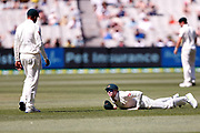 Steve Smith after dropping a catch during the Magellan fourth test match between Australia v England at  the Melbourne Cricket Ground, Melbourne, Australia on 26 December 2017. Photo by Mark  Witte.