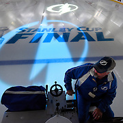 Amalie Arena Operations Manager Tom Miracle drives a Zamboni while working on the ice just prior to Game 5 of the Stanley Cup Finals against the Chicago Blackhawks Saturday, June 13, 2015 in Tampa.