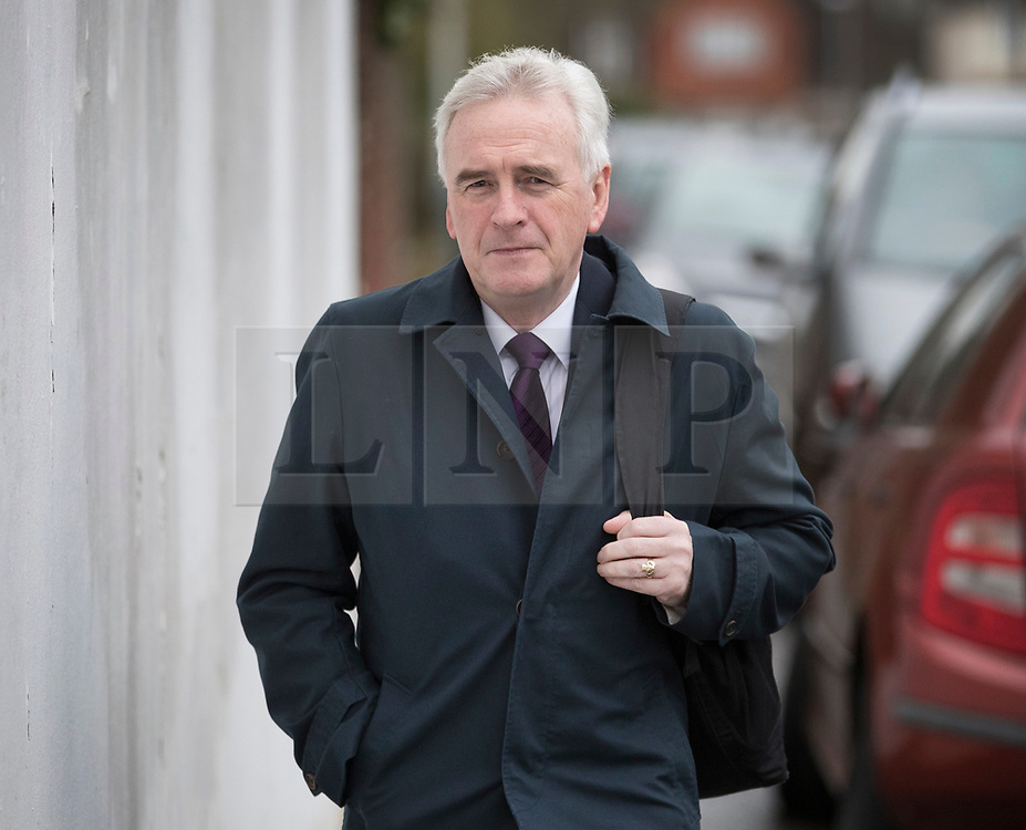 © Licensed to London News Pictures. 07/03/2017. London, UK. Shadow Chancellor John McDonnell leaves home on budget day.  Later Chancellor of the Exchequer Philip Hammond will deliver his 2017 Budget to Parliament. Photo credit: Peter Macdiarmid/LNP