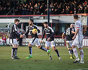 Dundee&rsquo;s Craig Wighton congratulates Kane Hemmings after the equaliser - Dundee v Inverness Caledonian Thistle - Ladbrokes Scottish Premiership at Dens Park<br /> <br />  - &copy; David Young - www.davidyoungphoto.co.uk - email: davidyoungphoto@gmail.com