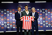Mario Hermoso during his presentation as new player of Atletico Madrid with Sport director Andrea Berta and President Enrique Cerezo (R) on July 18, 2019 at Wanda Metropolitano stadium in Madrid, Spain - Photo Oscar J Barroso / Spain ProSportsImages / DPPI / ProSportsImages / DPPI