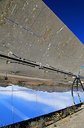 Curved concave reflector mirrors at  the solar energy scientific research centre, Tabernas, Almeria, Spain
