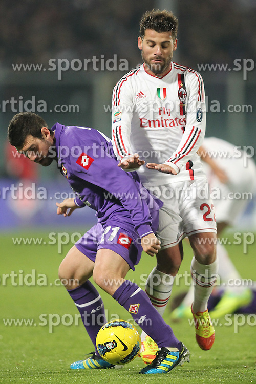 19.11.2011, Stadion Artemio Franchi, Florenz, ITA, Serie A, AC Florenz vs AC Mailand, 12. Spieltag, im Bild Antonio Nocerino (Milan) Andrea Lazzari (Fiorentina) // during the football match of Italian 'Serie A' league, 12th round, between AC Florenz and AC Mailand at Stadium Artemio Franchi, Florence, Italy on 19/11/2011. EXPA Pictures © 2011, PhotoCredit: EXPA/ Insidefoto/ Luca Pagliaricci..***** ATTENTION - for AUT, SLO, CRO, SRB, SUI and SWE only *****