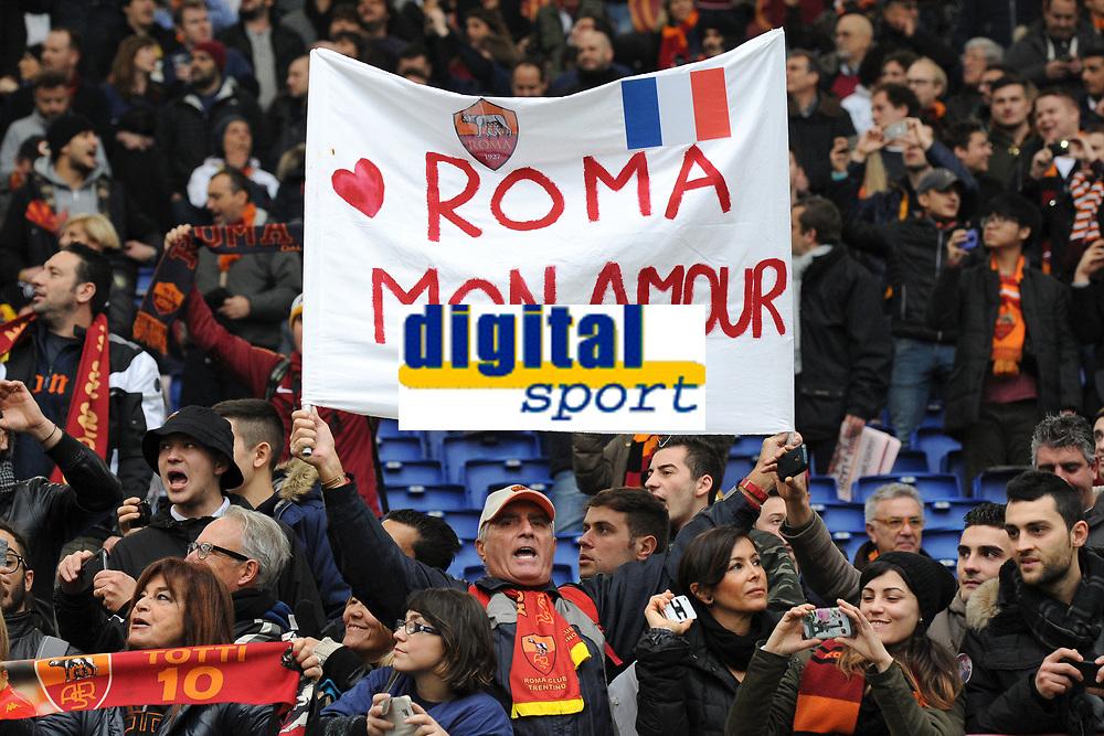 Striscione Tifosi Roma Roma Mon Amour <br /> Roma 11-01-2015 Stadio Olimpico, Football Calcio Serie A AS Roma - Lazio . Foto Andrea Staccioli / Insidefoto