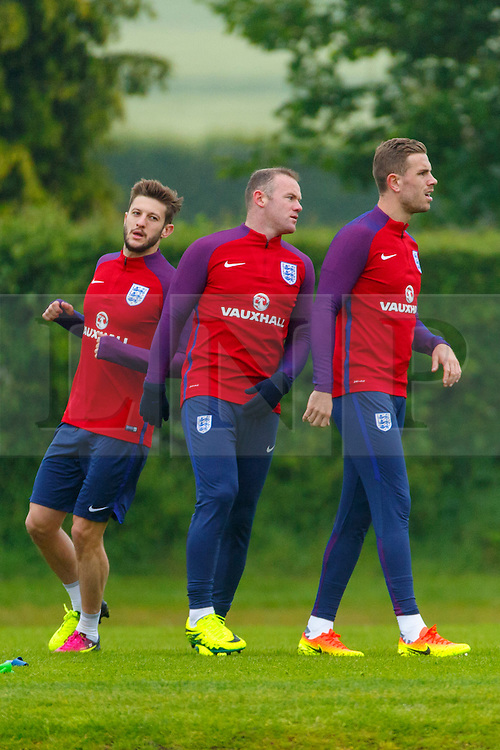 © Licensed to London News Pictures. 01/06/2016. London, UK. England's ADAM LALLANA, WAYNE ROONEY and GARY CAHILL train with England team at Watford Training Ground on Wednesday, 1 June 2016, ahead of the Euro 2016 in France. Photo credit: Tolga Akmen/LNP