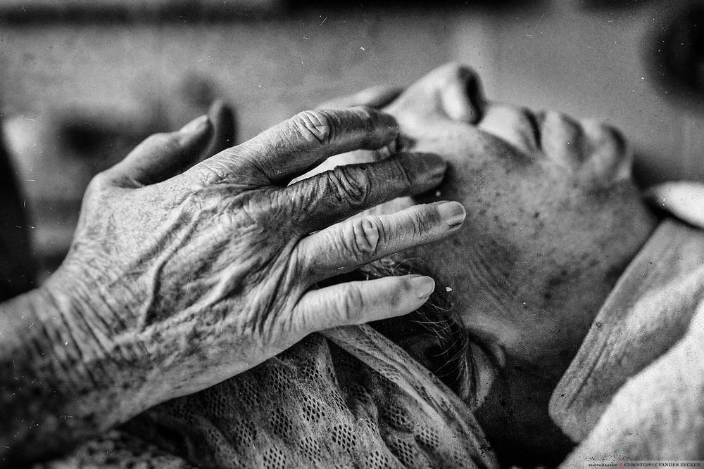 ghent, Belgium, 20 mar 2017, comforting hands