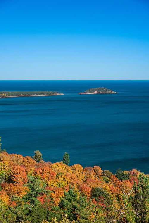 Wetmore Beach and Little Presque Isle in fall as seen from atop Sugarloaf Mountain lookout near Marquette, Michigan.