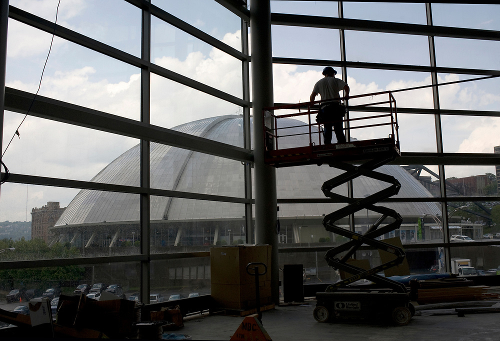 The view of the Mellon Arena from the new Consol Energy Center in Pittsburgh. The Center is scheduled to open in August.