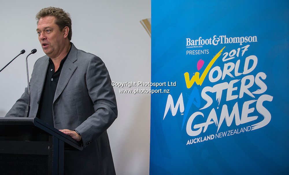 International Masters Games Association CEO Jens Holm speaks at a press conference Held at Sky City in Auckland to update progress  and unveil the medals for the World Masters Games 2017 to be held in Auckland. <br /> <br /> Credit; Peter Meecham/ www.photosport.nz