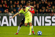 Barcelona player Jordi Alba (l) and PSV player Denzel Dumfries (r) during the UEFA Champions League, Group B football match between PSV Eindhoven and FC Barcelona on November 28, 2018 at Philips Stadium in Eindhoven, Netherlands - Photo Thomas Bakker / Pro Shots / ProSportsImages / DPPI