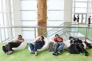 Attendees take a nap between events at the Google I/O Developers Conference in the Moscone Center in San Francisco, California, May 11, 2011. REUTERS/Beck Diefenbach   (UNITED STATES)