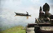 Ruins and artefacts at Great Lake near UNESCO World Heritage Site Angkor Wat, Cambodia.