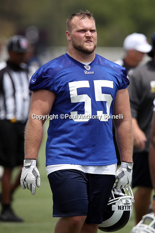Los Angeles Rams rookie center Brian Allen (55), a 4th round pick in the 2018 NFL draft, looks on during the Los Angeles Rams NFL football camp on Monday, June 4, 2018 in Thousand Oaks, Calif. (©Paul Anthony Spinelli)