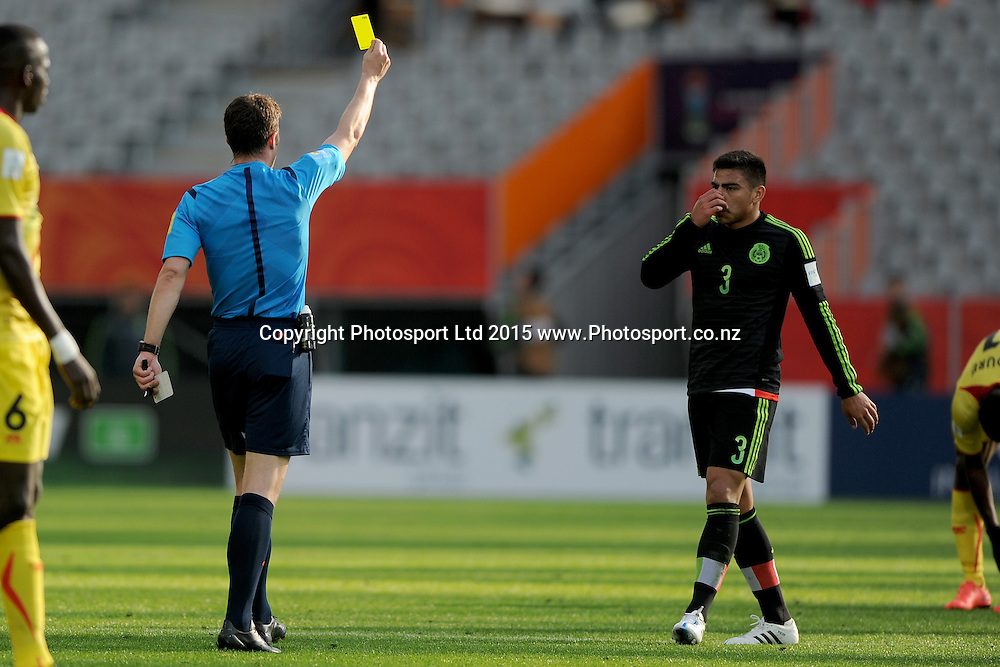Oscar Bernal of Mexico is awarded a yellow card, during the Fifa U20 World Cup match between Mexico and Mali, held at Otago Stadium, Dunedin, New Zealand, 31 May 2015. Credit: Joe Allison / www.Photosport.co.nz