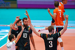 10-08-2019 NED: FIVB Tokyo Volleyball Qualification 2019 / Belgium - Netherlands, Rotterdam<br /> Third match pool B in hall Ahoy between Belgium vs. Netherlands (0-3) for one Olympic ticket / Simon Van De Voorde #10 of Belgium