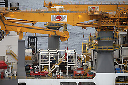 ATLANTIC OCEAN 9NOV14 - View of the Rowan Reniassance drill ship in the Atlantic ocean. The 229-metre long ship, chartered by Spanish oil company Repsol, is capable of drilling wells to depths of 40,000 feet in waters of up to 12,000, and will begin operations off the Canary Islands.<br /> <br /> jre/Photo by Jiri Rezac / Greenpeace<br /> <br /> © Jiri Rezac 2014