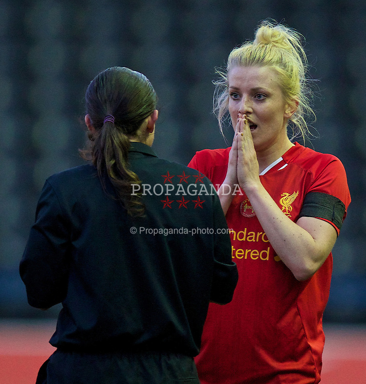 WIDNES, ENGLAND - Thursday, April 17, 2014: Liverpool Ladies' Kate Longhurst looks dejected as the referee disallows her goal against Manchester City Ladies during the FA Women's Super League match at the Halton Stadium. (Pic by David Rawcliffe/Propaganda)