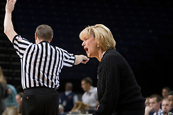 Virginia Cavaliers Head Coach Debbie Ryan argues an officials call in the second half against Charlotte. The Virginia Cavaliers women's basketball team defeated The University of North Carolina - Charlotte 49ers 74-72 in the 2nd round of the Women's NIT at John Paul Jones Arena in Charlottesville, VA on March 19, 2007.