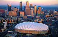 Aerial view Minneapolis Metro dome, Home of the Minnesota Vikings Football team, and skyline in October 1995 at Sunrise