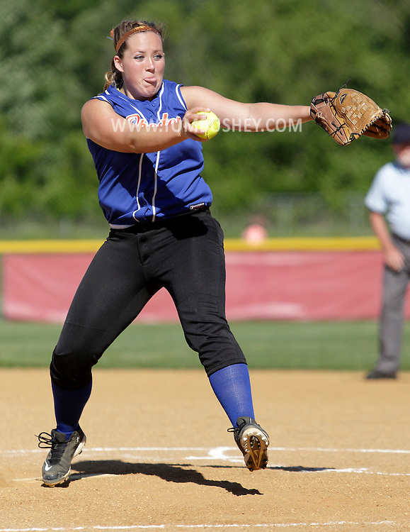 Chester pitcher Kathryn Jankelunas winds up against Haldane in the opening round of the state Class C softball tournament at North Rockland High School on Tuesday, June 4, 2013.