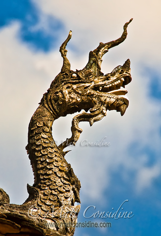 Intricately carved dragon guarding the entrance to a temple.<br /> (Photo by Matt Considine - Images of Asia Collection)