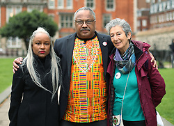 "Deborah Hobson of Grassroots Black Left and Noami Wimborne-Idrissi, Jewish Voice For Labour (right), with Labour party activist Marc Wadsworth in Westminster, London, after he was expelled from the party following a hearing by Labour's disciplinary body which found his behaviour had been ""grossly detrimental to the party""."