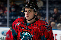 KELOWNA, CANADA - MARCH 16:  Mark Liwiski #9 of the Kelowna Rockets skates in warm-ups prior to the game against Vancouver Giants on March 16, 2019 at Prospera Place in Kelowna, British Columbia, Canada.  (Photo by Marissa Baecker/Shoot the Breeze)