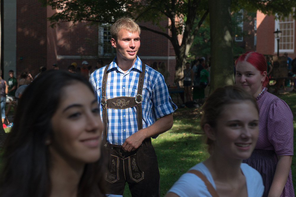 Nick Koehling invites students to join the German Club at the Student Involvement Fair. Photo by Ben Siegel