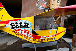 Plane advertising Bear Air Adventure, tourism services, Anchorage, Alaska, United States of America