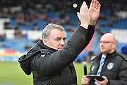 Oldham Athletic New Manager, John Sheridan applauds the fans during the Sky Bet League 1 match between Oldham Athletic and Bury at Boundary Park, Oldham, England on 23 January 2016. Photo by Mark Pollitt.