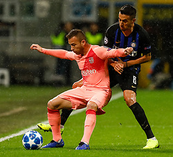 November 6, 2018 - Milan, Italy - Matias Vecino (R) of Inter Milan and Arthur of Barcelona vie for the ball during the Group B match of the UEFA Champions League between FC Internazionale and FC Barcelona on November 6, 2018 at San Siro Stadium in Milan, Italy. (Credit Image: © Mike Kireev/NurPhoto via ZUMA Press)
