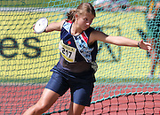 GERMISTON, SOUTH AFRICA, Friday 29 March 2012, Riette Heyns of Gauteng North about to hurl the discus during the Yellow Pages South African Junior and Schools Athletic Championships at the Germiston Stadium..Photo by Roger Sedres/Image SA
